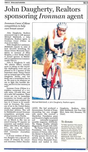 John Daugherty, Realtors sponsoring Ironman agent
